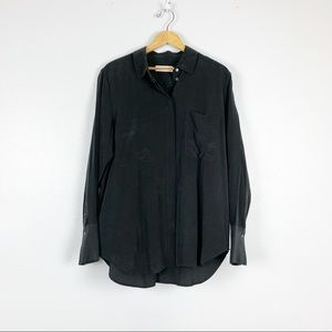 Everlane | Two Pocket Shirt 100% Silk Charcoal EUC